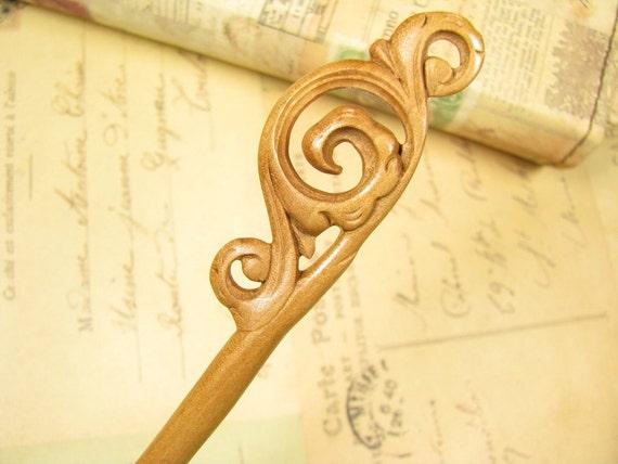 Exquisite Handmade Wooden Hair Sticks Peach Wood