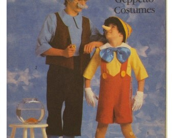 Pinocchio, Geppetto Costumes Pattern, Walt Disney -  Simplicity No. 8334 UNCUT Child Size 6-8 OR 10-12