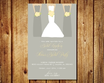 Bridesmaids Luncheon Invitation- Custom Bridal Invitation- Customize Colors- Custom Digital File- Bride with bridesmaids