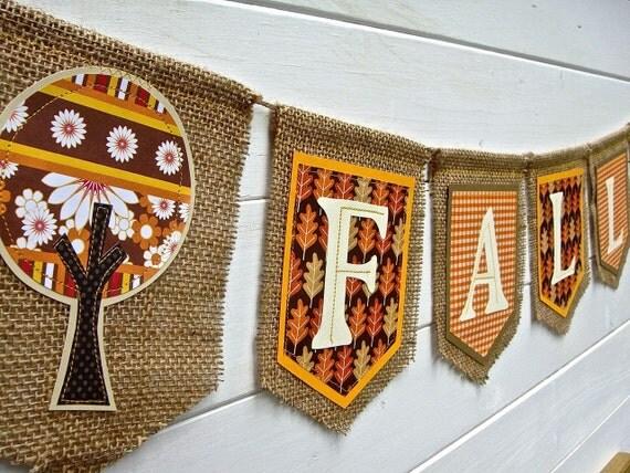 FALL Banner, FALL Garland, Autumn decoration, halloween decoration, fall decoration, orange, leaves, fall trees, burlap banner