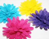 4 Fancy Large Bright Yellow Purple Magenta Pink and Teal Blue Felt Chrysanthemum Flower For DIY Headbands Clips Pins Decor Crafts