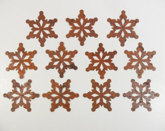 "9 Snowflakes Rusty Tin 2"" Cut Outs"