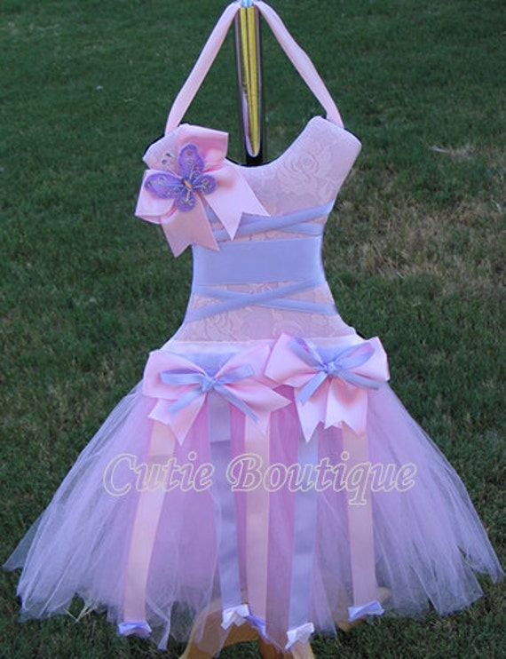 Tutu Dress Hair Bow Holder Pink Lavender