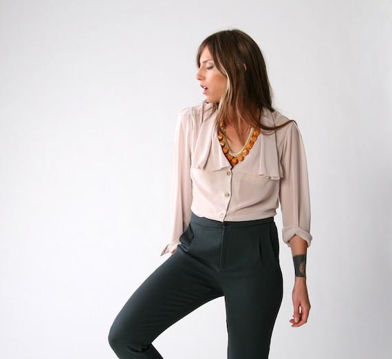 SALE, Stone colored chiffon blouse, Women blouse, Plus size, Size 12, Size 42, Only one left