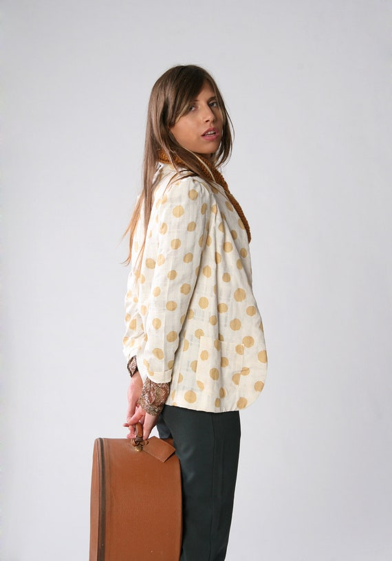 SALE, Cream with polka camel dots jacket, Women summer jacket, Size 6, Only one left