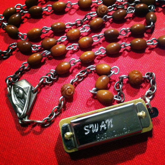 Mini Functional Harmonica Necklace on Wood Beaded Vintage Rosary