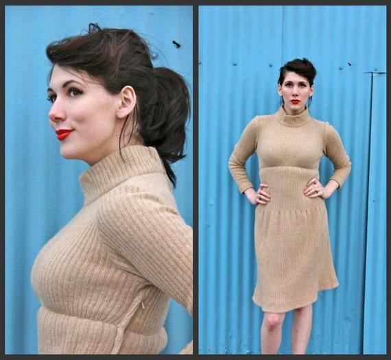 SALE. 1950's. sweater dress. mad men. beige. wiggle dress. vintage. Sz s.