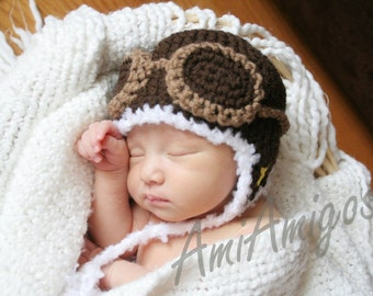 Crochet Dark Brown Aviator Hat (Newborn)