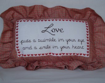 SALE, small shelf sitter pillow, reminder of love and friendship pillow, red pillow ruffled edges, statement of love and friendship gift