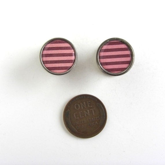 Vintage Pink & Red Shirt Cuff Links - snap link