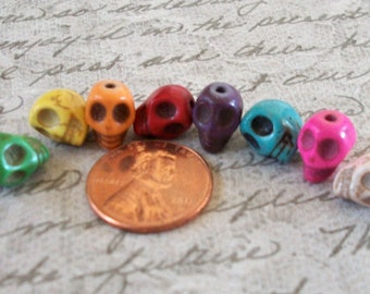 SKULL 10mm by 8mm Beads Teeny Tiny Multi Colored Howlite Stone