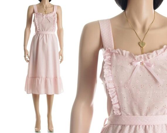 Vintage 70s Dress - Pink Polka Dot Eyelet Lace Pinafore Prairie Dress - S / M