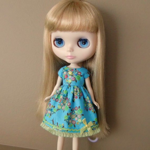 Turquoise Peace Sign Summer Dress for Blythe