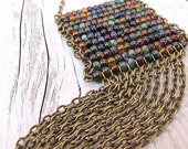 Beaded Fringe Necklace with Antique Brass Chain Long Fringe, Czech Glass Seed Bead Mix: Tribal Abacus