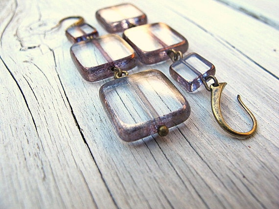 Clear Glass Dangles/ Long Earrings: Czech Glass Square Tiles with Antique Brass