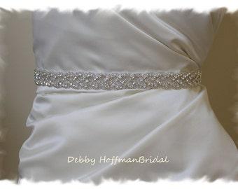 Wedding Belt, 24 Inch Rhinestone Wedding Dress Sash, Braided Crystal Bridal Belt, Rhinestone Bridal Sash, Jeweled Wedding Sash, No. 3010S-24