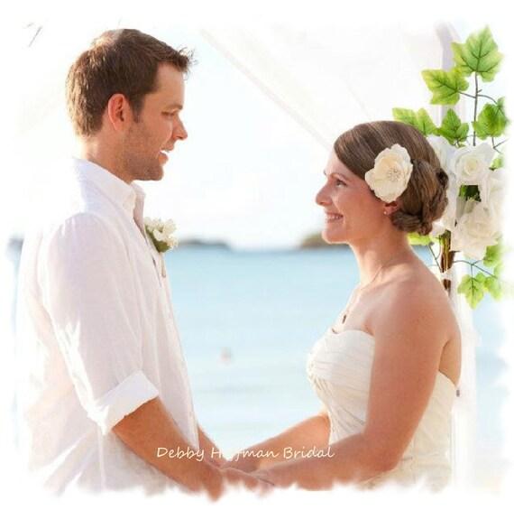 Bridal Hair Flower, Ivory Magnolia Wedding Flower Hair Clip, Wedding Hair Piece, Floral Hair Comb Rhinestones, Wedding Headpiece, No. 202I