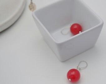 Red Jade Globe Earrings