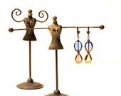 Glass Drop Earrings, Blue & Lavender Glass Beads, Boho Chic, Brass Enamel, Lever Back Hooks