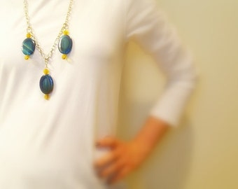 Blue Agate Necklace, Yellow Glass Beads, Bold Bohemian, Chunky Silver Metal Chain, Lobster Clasp