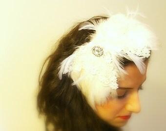Ivory Wedding Headband, Bridal Headpiece, Lace and Feather Wedding Headpiece