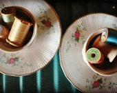 Vintage Whimsy Tea for Two  Wood Spools Made In Poland Walbrzych Turquoise and Pink
