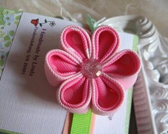 Pink Kanzashi Flower Hair Clip