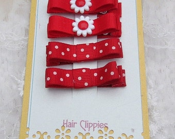 Tuxedo Bow Hair Clippies in Red Color Combination with Flower button Baby Infant Hair Clip