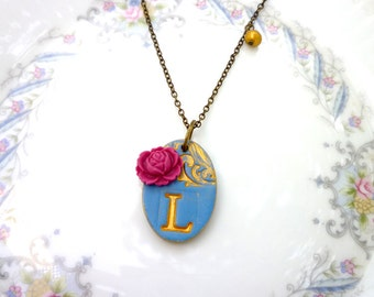 Deep Blue Initial Necklace - Vintage Chic Letter Necklace - Bridesmaids gifts