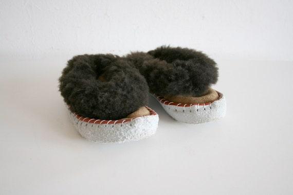 SALE Kids Vintage Fur Slippers