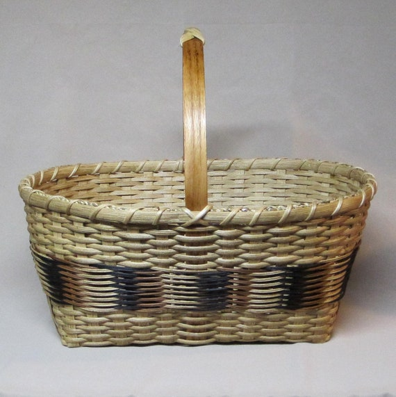 Hand Woven, Williamsburg Market Basket, Braid Weave Using Natural, Black and Tan, Top Knot