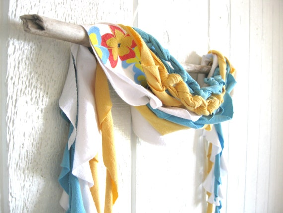 Eco Friendly. Upcycled T-Shirt. Fall Fashion. Sky Blue. Sunshine Yellow. Scarf Set. FREE Shipping