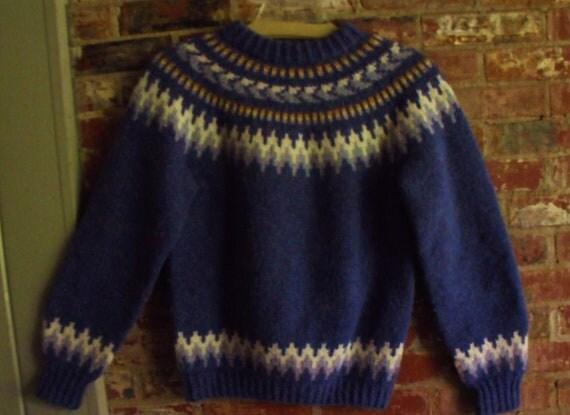 Fabulous Vintage Hand Knit Shetland Wool Fair Isle Sweater