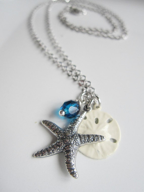 Silver Starfish Necklace White sand Dollar Sapphire Czech Beads - Nautical Summer Wedding - Simple and Classic Bridesmaid Gifts