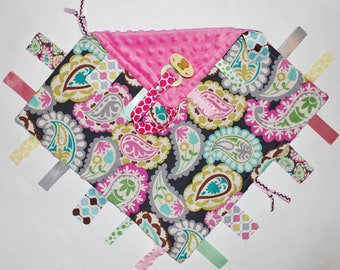 Ribbon Tag Blankie with Pacifier Clip, Large 16 x 16 - Roco Beat Paisley with Hot Pink Dot Minky