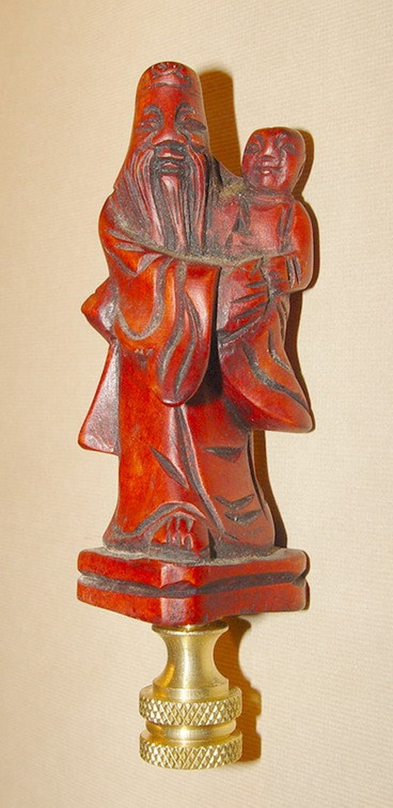 Vintage Chinese Hand Carved Wood Figure Lamp Finial
