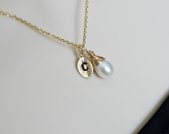 Initial Pearl Necklace, Wire Wrapped Freshwater Pearl Initial Necklace, Bridesmaid Gift, Custom Initial and Stone Letter Charm,
