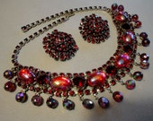 Vintage Juliana Necklace Set Parure in Red Rhinestones and AB Cabochons paired with Weiss Earrings a stunning necklace set on