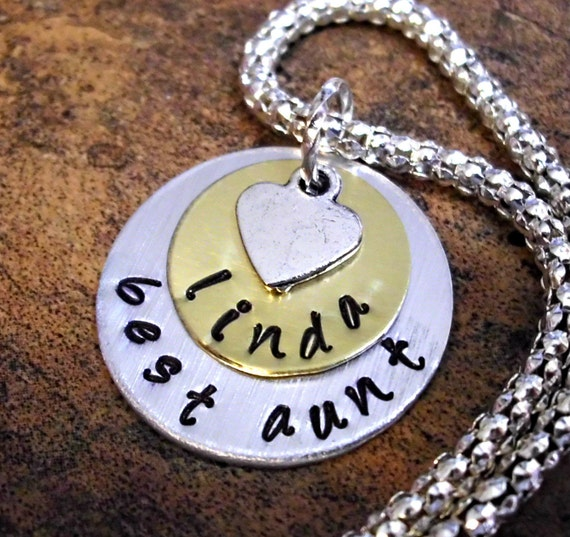 Aunt Necklace, Personalized Hand Stamped Necklace, Personalized Aunt Necklace, Personalized Jewelry, Jewelry for Aunt