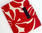 iPad Case, iPad Cover, iPad folding Stand  in modern red and cream floral