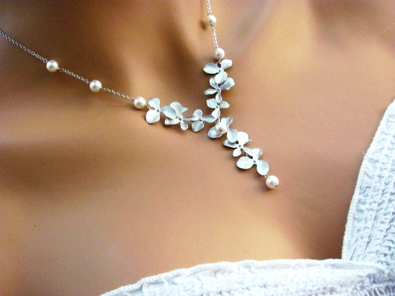 BRIDAL Orchid and Pearl Cascade Necklace- romantic elegant bridal jewelry, available in silver and gold, original design by ACutieChick.