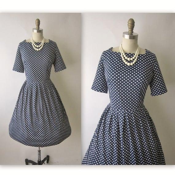 60's Polka Dot Dress // Vintage 1960's Navy & White Polka Dot Full Garden Party Dress L XL