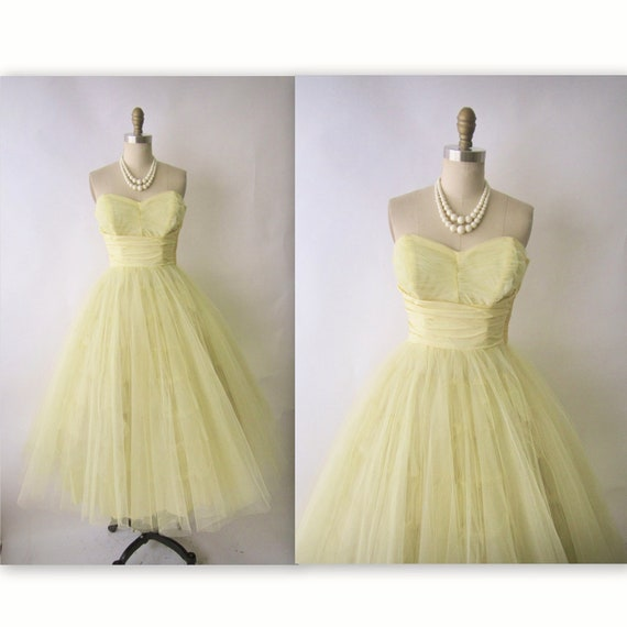 Hold for Tessa 50's Tulle Prom Dress // Vintage 1950's Strapless Tulle Shelf Bust Wedding Party Prom Dress S