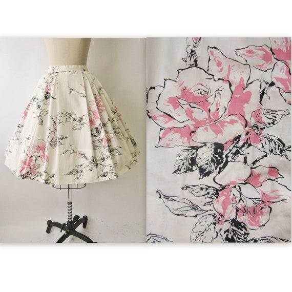 50's Floral Print Skirt //  Vintage 1950's Floral Print Cotton Full Pleated Garden Party Skirt XS
