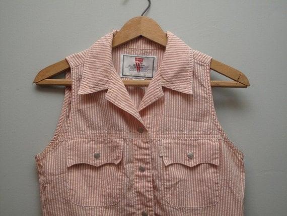 women's vintage Levi's striped sleeveless shirt.