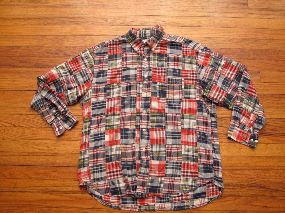 Mens brooks brothers patchwork madras shirt for Brooks brothers custom shirt