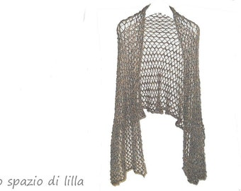 "stole,shawl, scarf, ""Retrò"" Kid Mohair and Lurex handknitted long scarf, stole, shawl, neckwarmer, gray and gold, handmade in Italy"
