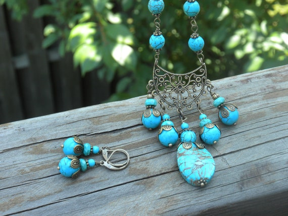 VINTAGE INSPIRED Set-blue turquoise, antique brass Bohemian jewelry, chain, vintage, gypsy style, necklace, earrings, handwired, gift idea
