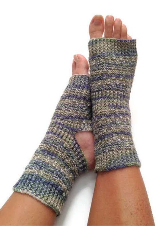 Toeless Yoga Socks Hand Knit in Aquamarine Green Blue Stripes Pedicure Pilates Dance
