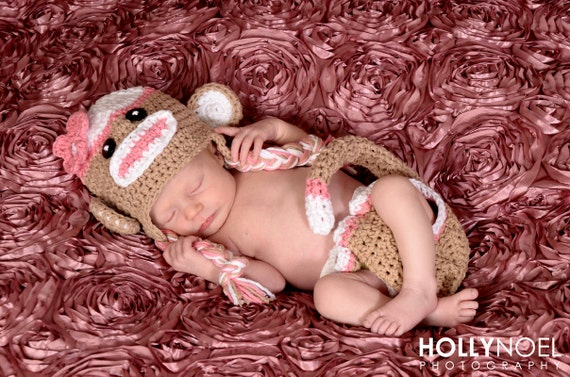Pink sock monkey hat and diaper cover, photography prop, sock monkey halloween costume, pink sock monkey hat, baby sock monkey hat
